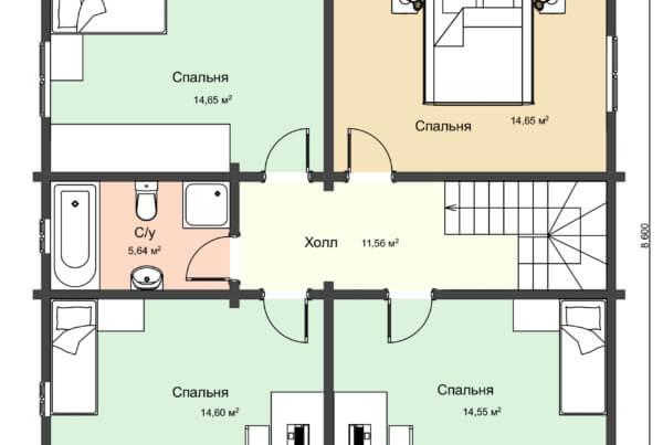 Проект второго этпжа двухэтажного дома из профилированного бруса
