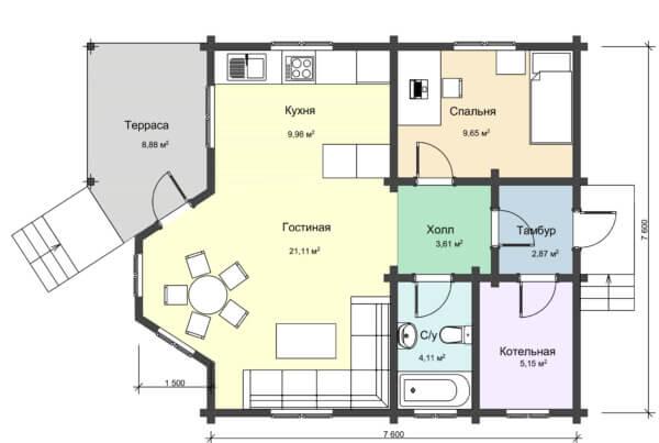 Проект 1 этажа дома из профилированного бруса НД 1-19