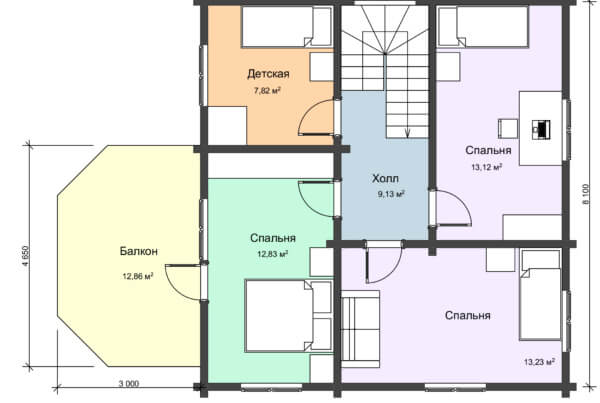 План 2 этажа большого дачного деревянный дома НД 1-18