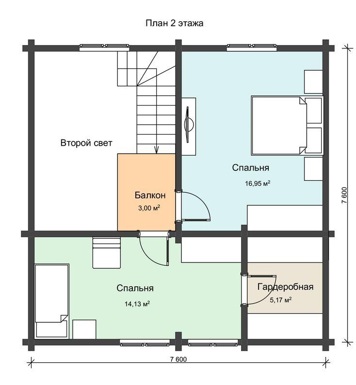 Проект 2 этажа дома из профилированного бруса НД 1-19