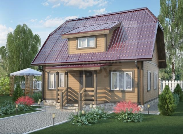 Двухэтажный дачный дом из бруса НД 1-15