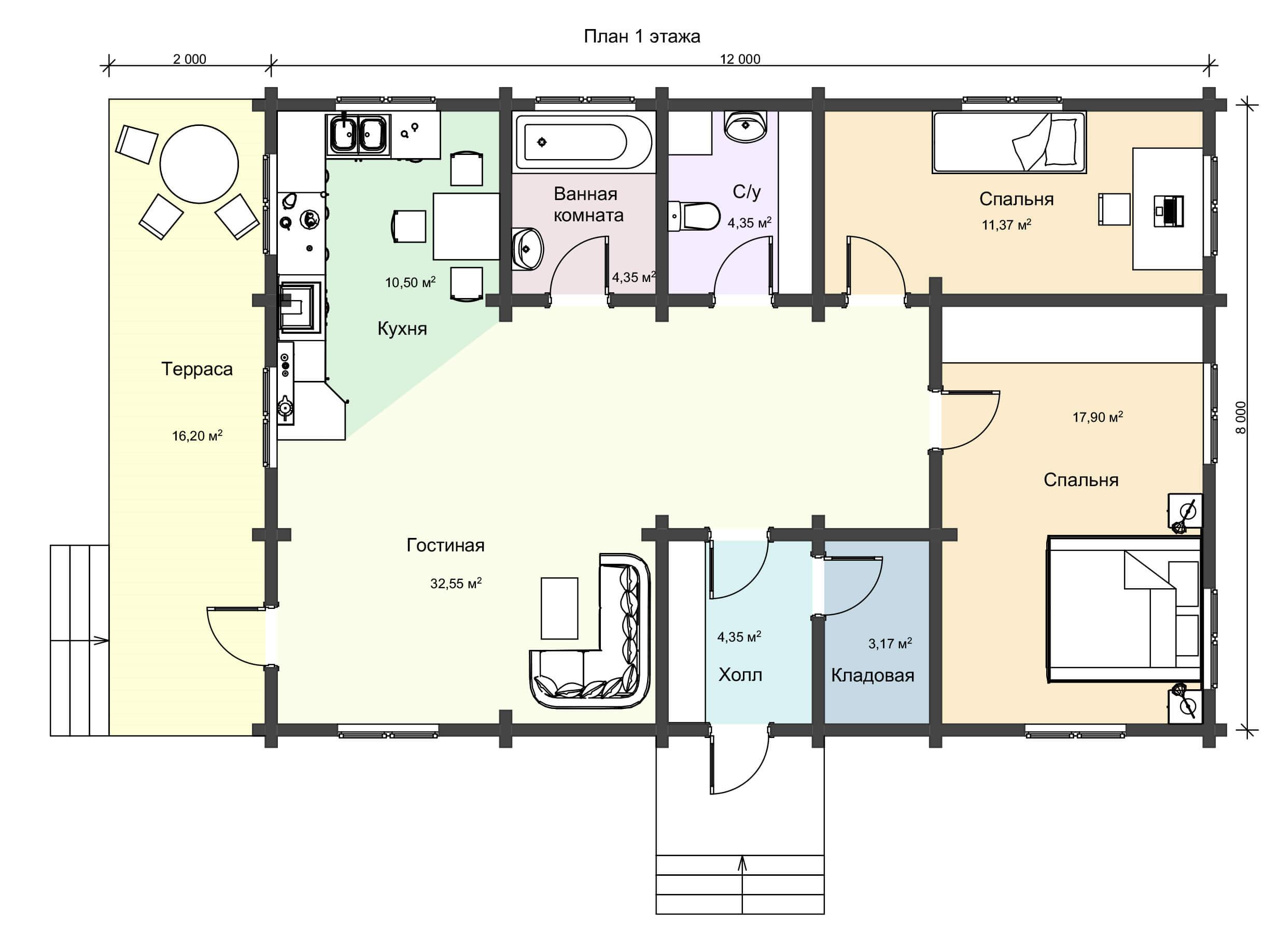 План дома из профилированного бруса 104 метр