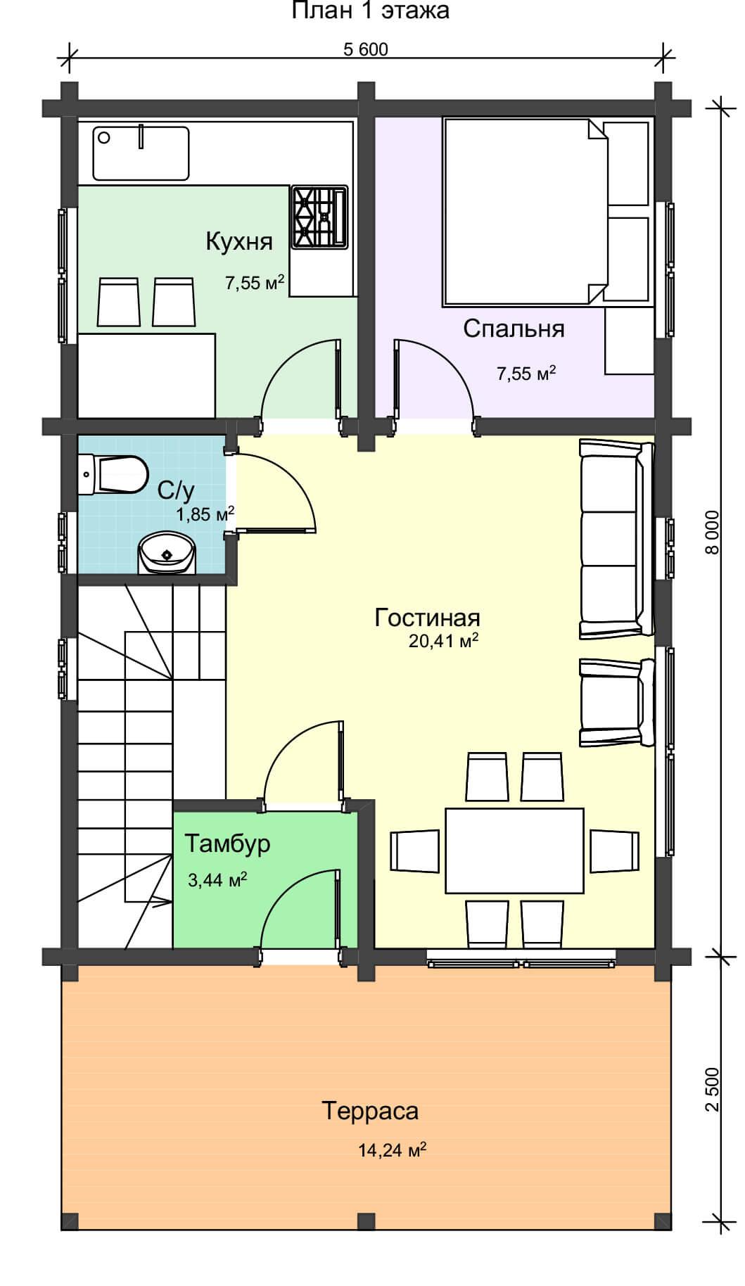 План первого этажа двужэтажного дома из клееного бруса НД 1-5