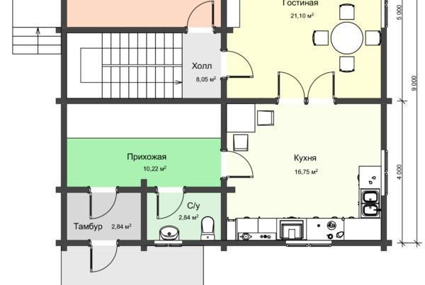 План 1 этажа двухэтажного загородного дома из профилированного бруса