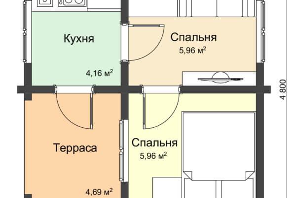 План одноэтажного дачного дома из профилированного бруса НД 1-6