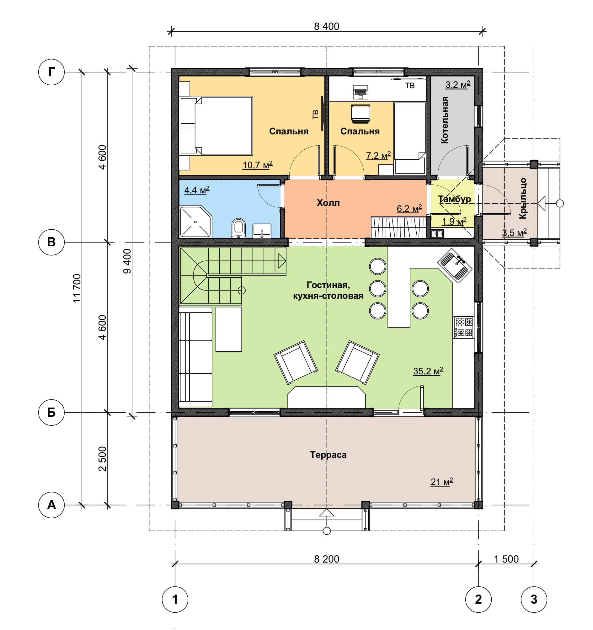Схема первого этажа дома с террасой