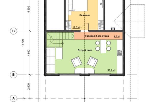 Схема второго этажа дома с террасой из профилированного бруса