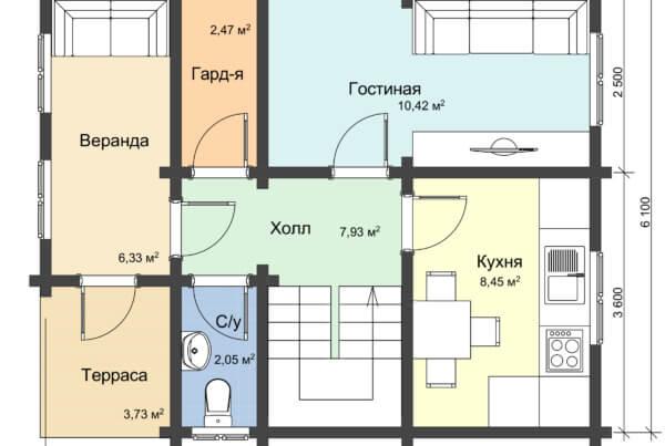 Схема первого этажа дома из профилированного бруса
