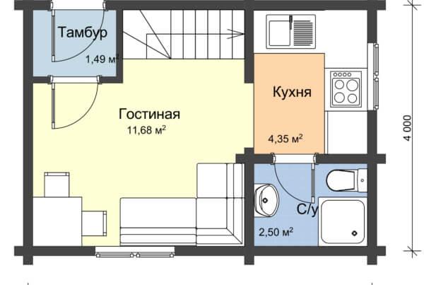 Схема первого этажа дома с мансардой из профилированного бруса
