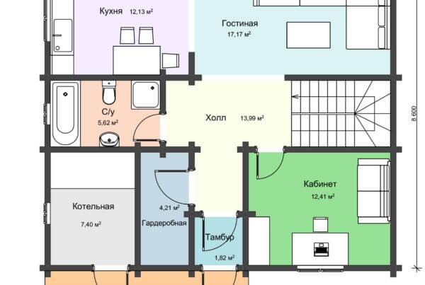 Проект первого этпжа двухэтажного дома из профилированного бруса
