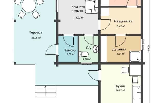Схема первого этажа бани из профилированного бруса