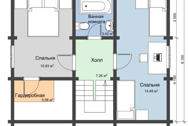 Схема второго этажа дома из профилированного бруса