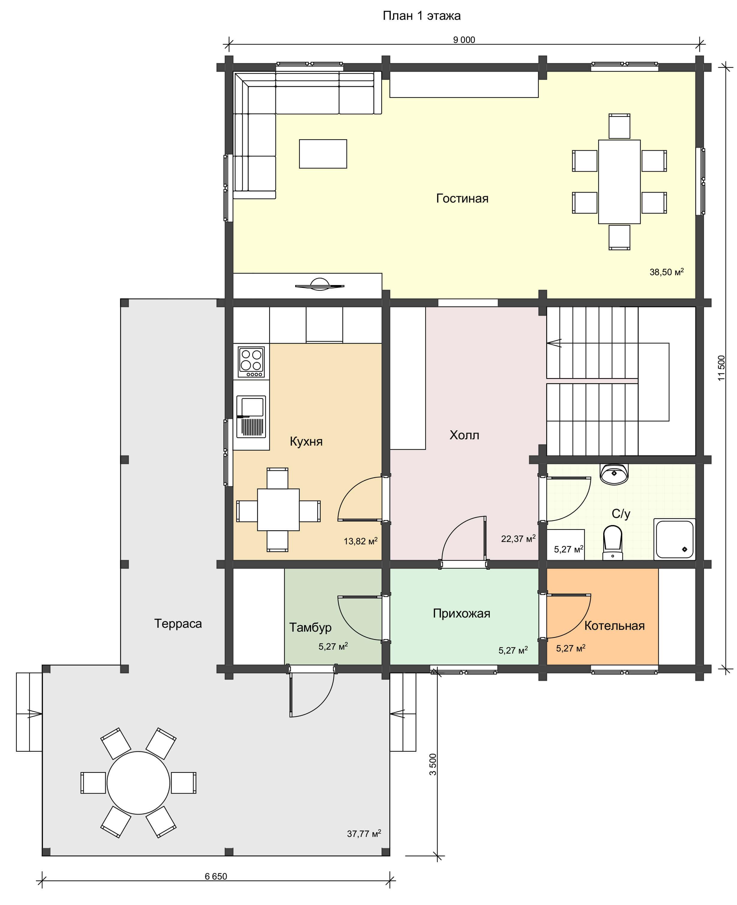 План 1 этажа большого дома из профилированного бруса 220 м