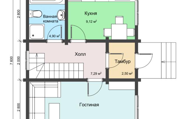 План 1 этажа двухэтажного дачного дома
