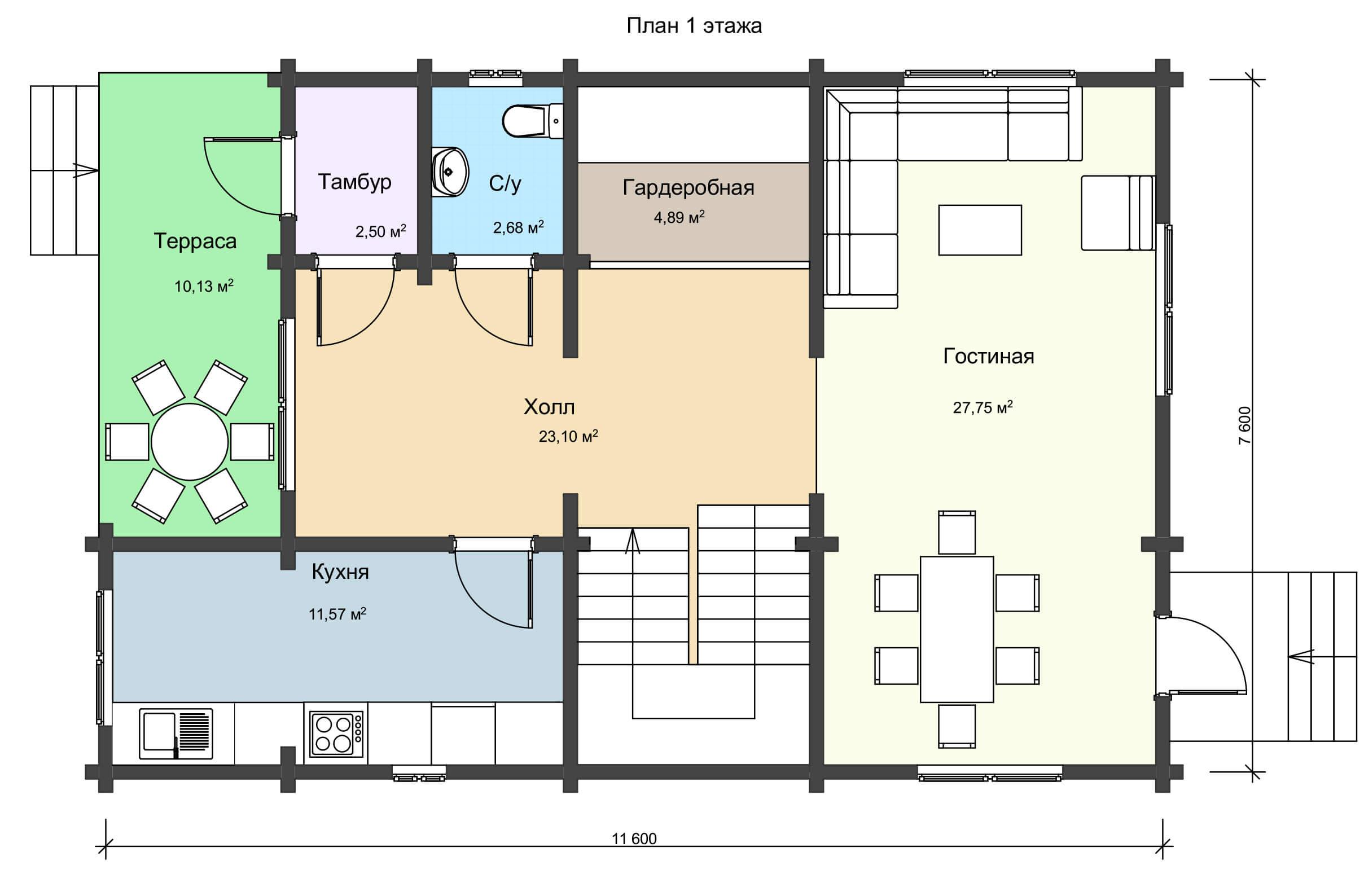 План 1 этажа большого дачного дома из бруса НД 1-14