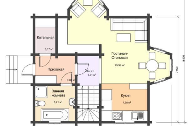 План 1 этажа двухэтажный дом из профилированного бруса среднего размера