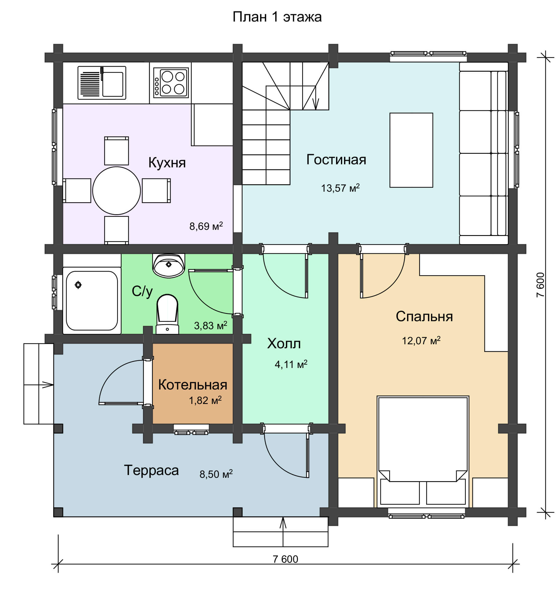 План 1 этажа двухэтажного дома из профилированного бруса НД 1-17
