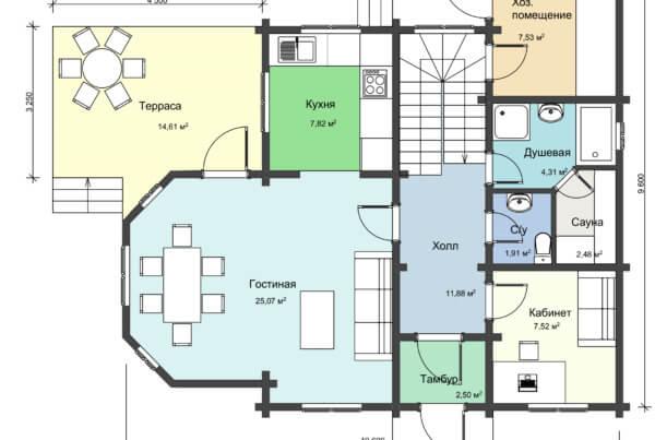 План 1 этажа большого дачного деревянный дома НД 1-18