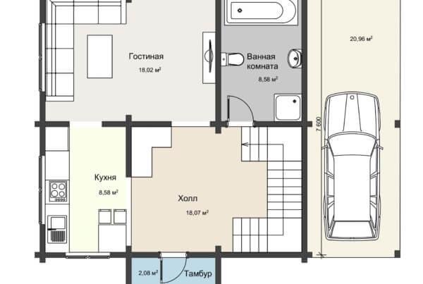 План 1 этажа дома с навесом из клееного бруса НД 1-20