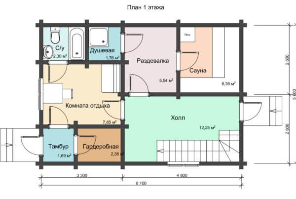 План 1 этажа деревянного дома двухэтажного