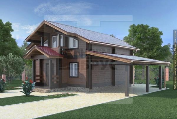 Дом двухэтажный из клееного бруса с навесом