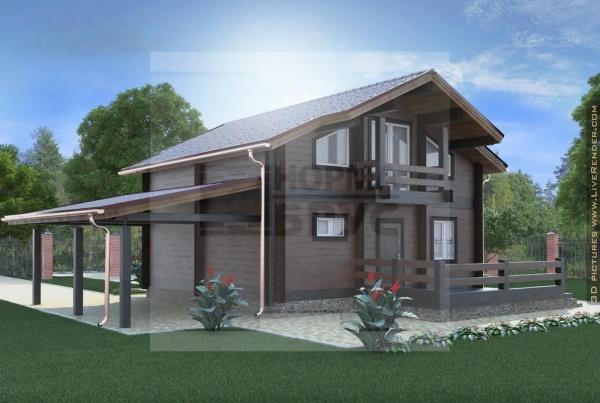 Дом двухэтажный с навесом