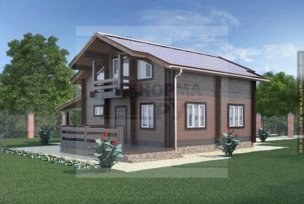 Дом из бруса с навесом