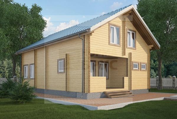 Большой дачный дом из бруса два этажа НД 1-14