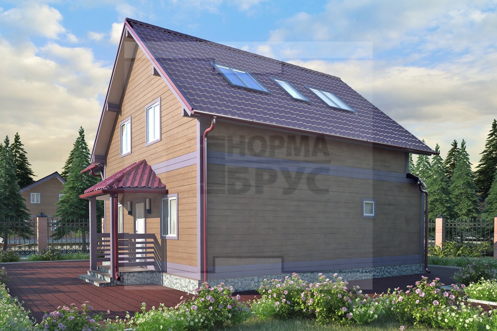Деревянный дом два этажа НД 1-18
