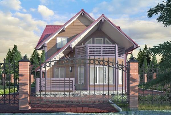 Большой дачный деревянный дом два этажа НД 1-18
