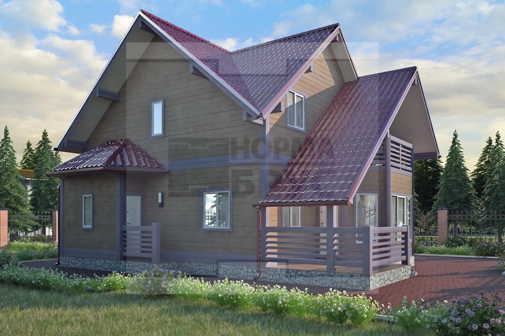 Большой деревянный дом два этажа НД 1-18