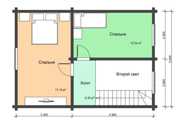 План 2 этажа деревянного дома двухэтажного
