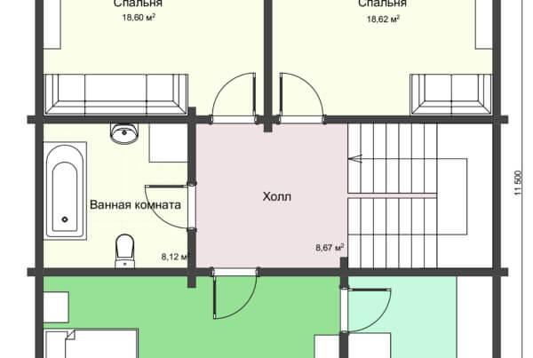 План 2 этажа большого дома из профилированного бруса НД 1-13