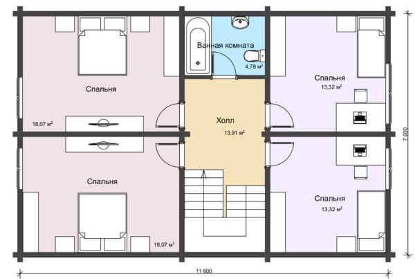 План 2 этажа большого дачного дома из бруса НД 1-14
