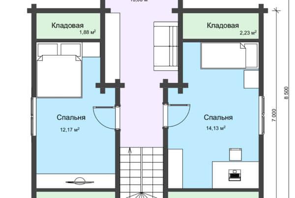 План 2 этажа двухэтажный дом из профилированного бруса среднего размера