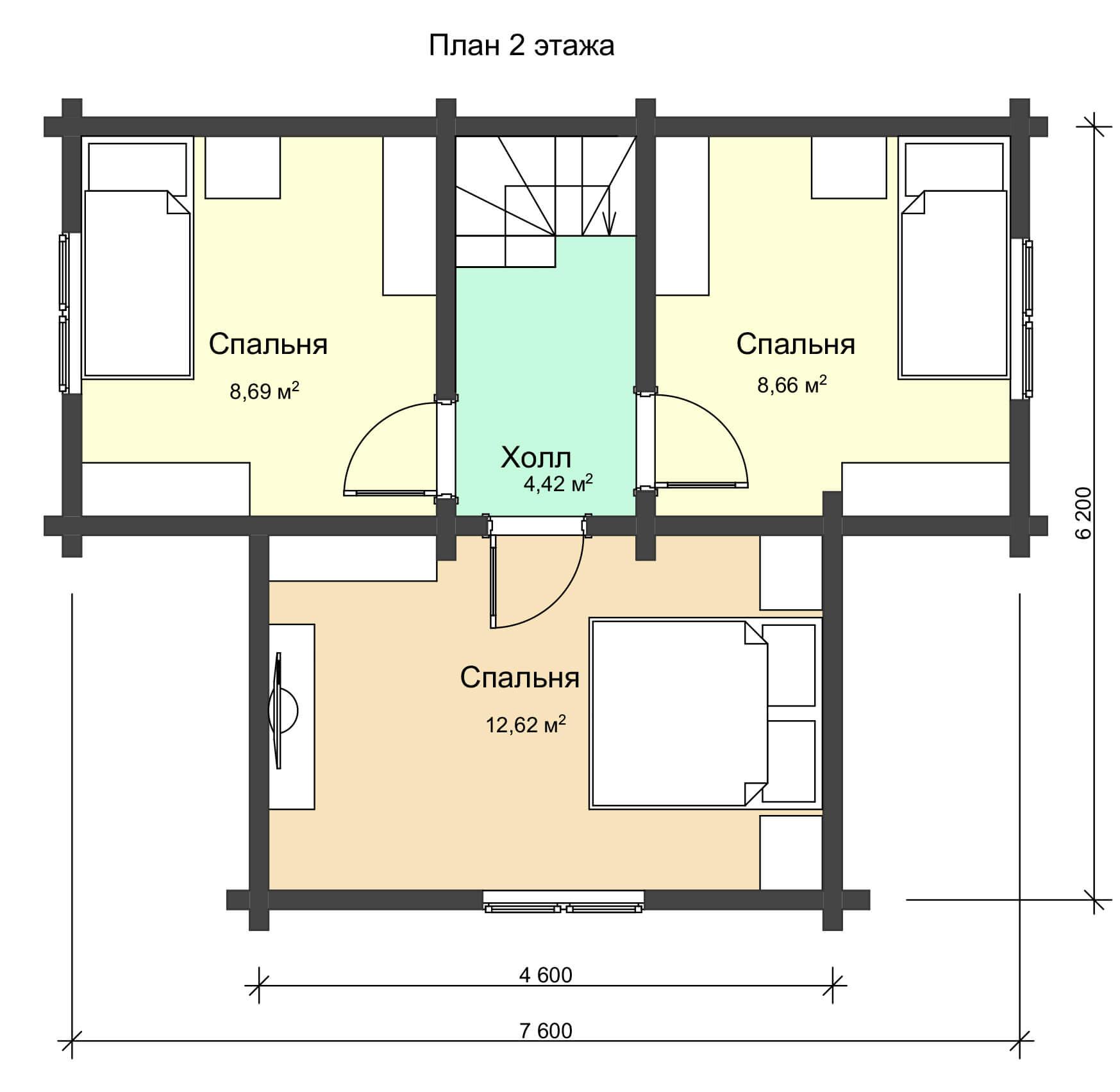 План 2 этажа двухэтажного дома из профилированного бруса НД 1-17