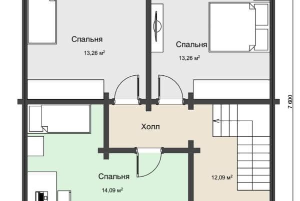План 2 этажа дома с навесом из клееного бруса НД 1-20