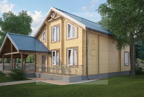 Двухэтажный дом из бруса площадью более 200 кв. м