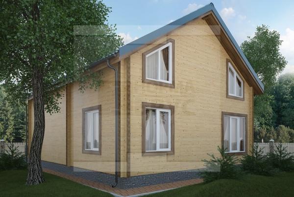 Двухэтажный дом из профилированного бруса площадью более 200 кв. м
