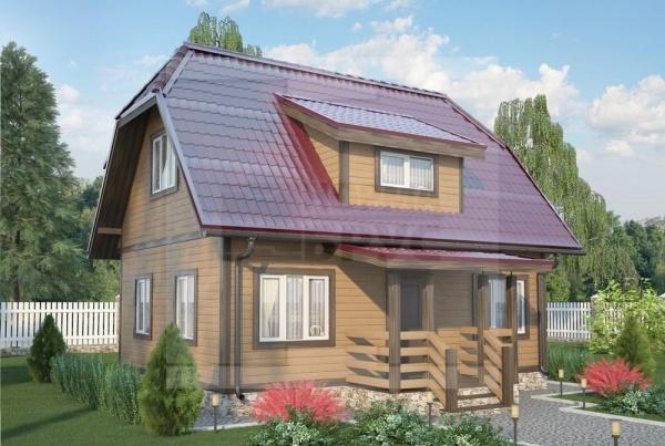 Маленький двухэтажный дачный дом из дерева НД 1-15