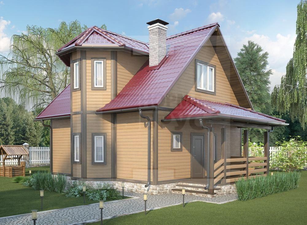 Двухэтажный дом из профилированного бруса среднего размера НД 1-16
