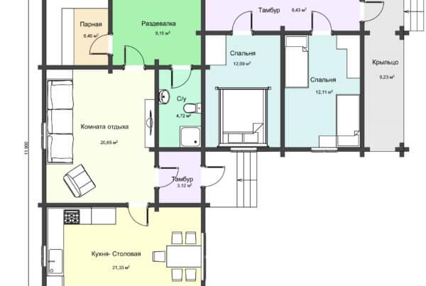 Схема 1 этажа бани из профилированного бруса НБ 1-2
