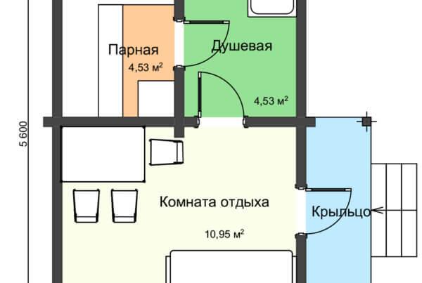 План бани из профилированного бруса НБ 1-6