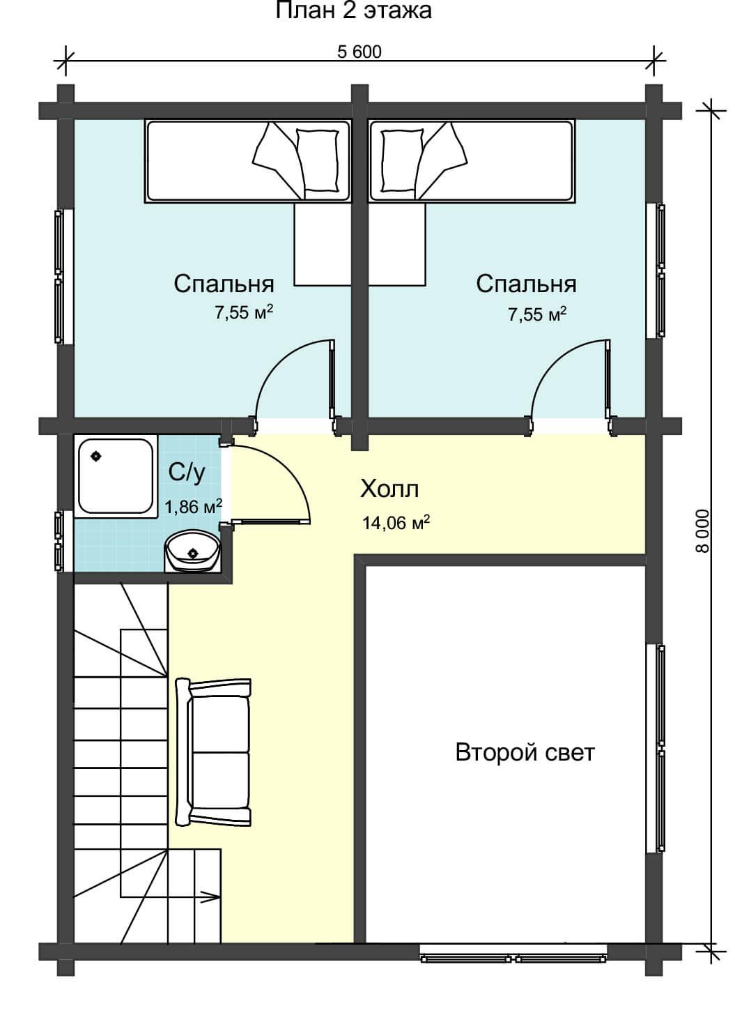 План второго этажа двужэтажного дома из клееного бруса НД 1-5
