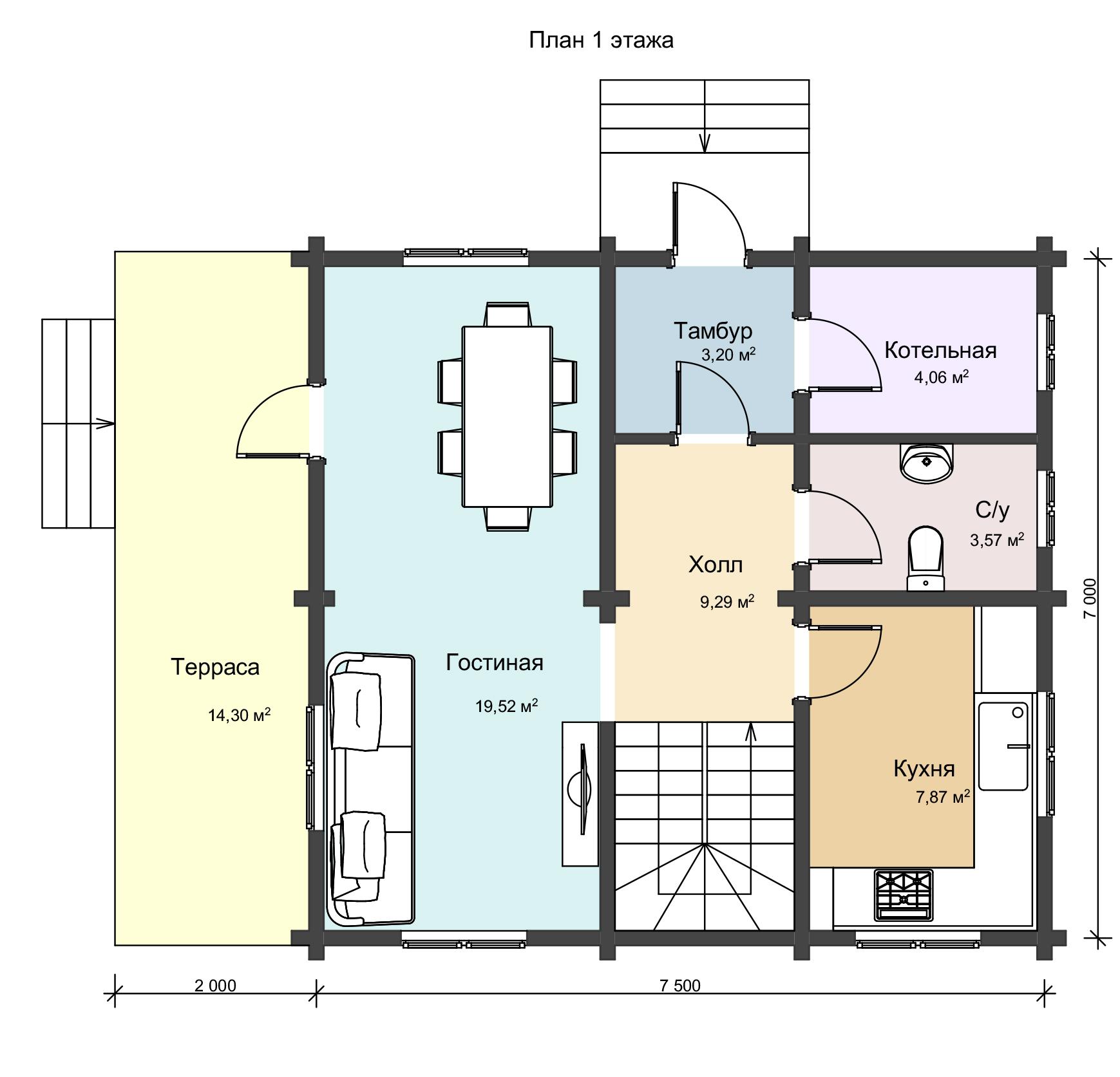 План 1 этажа двухэтажного деревянного дома из профилированного бруса