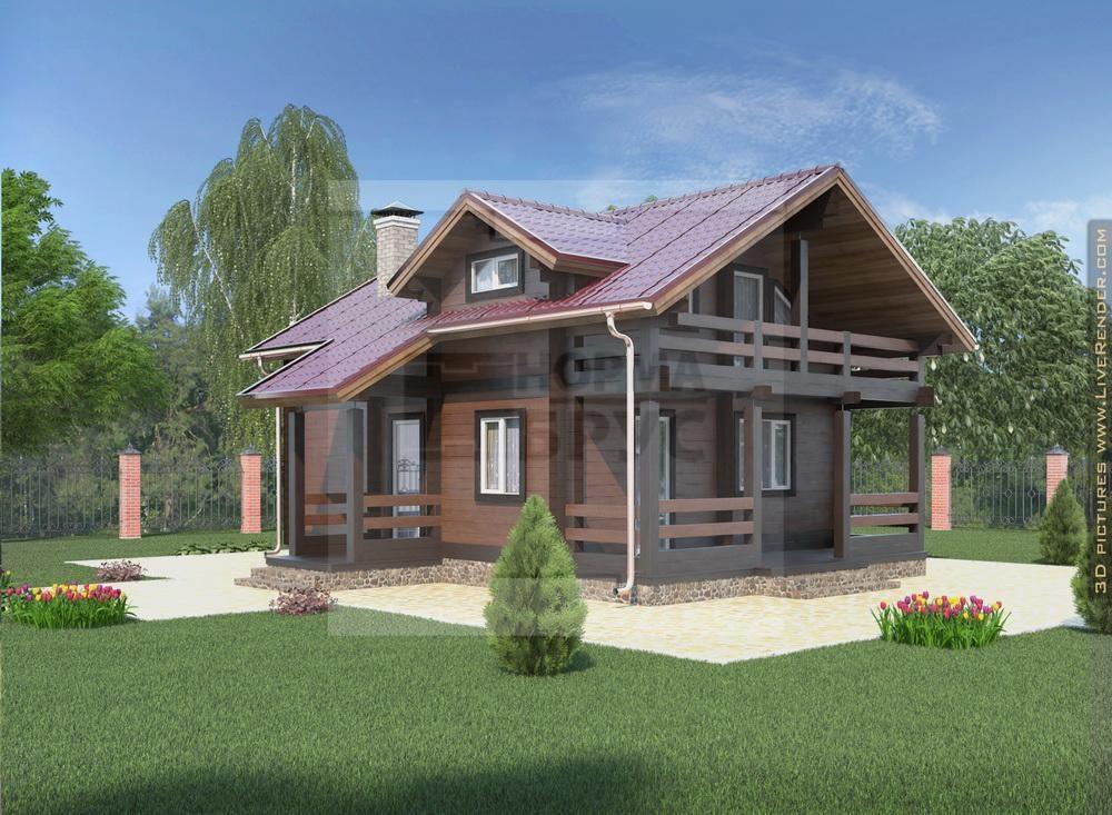 Двухэтажный дом из дерева