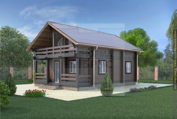 Двухэтажный дом из дерева профилированного бруса