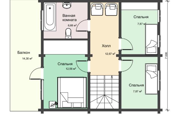 Планировка 2 этажа двухэтажного деревянного дома