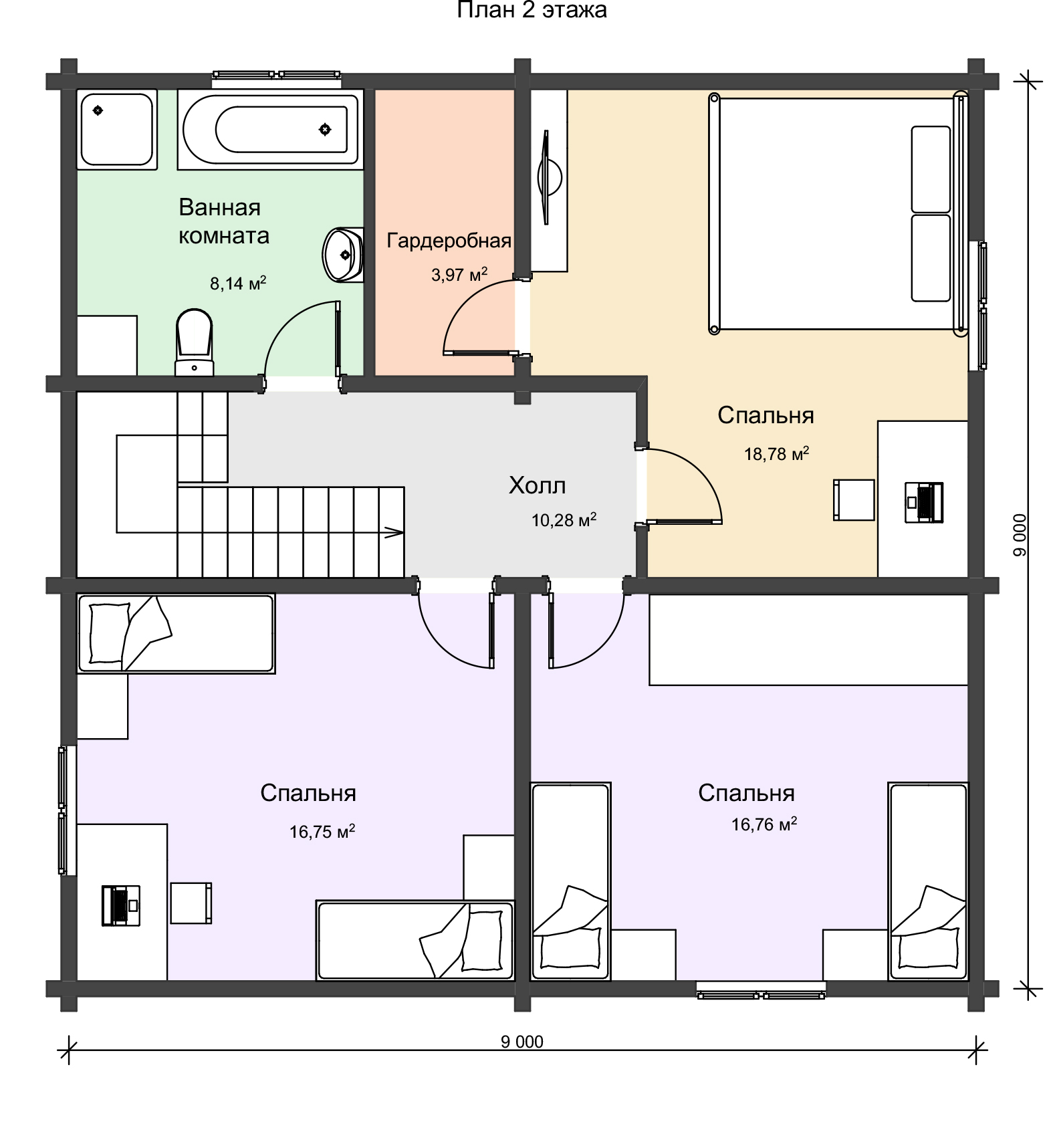 План 2 этажа двухэтажного загородного дома из профилированного бруса