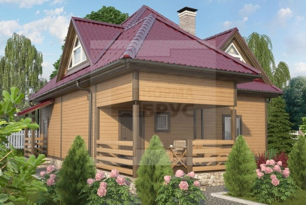 Двухэтажный загородный дом из профилированного бруса НД 1-25